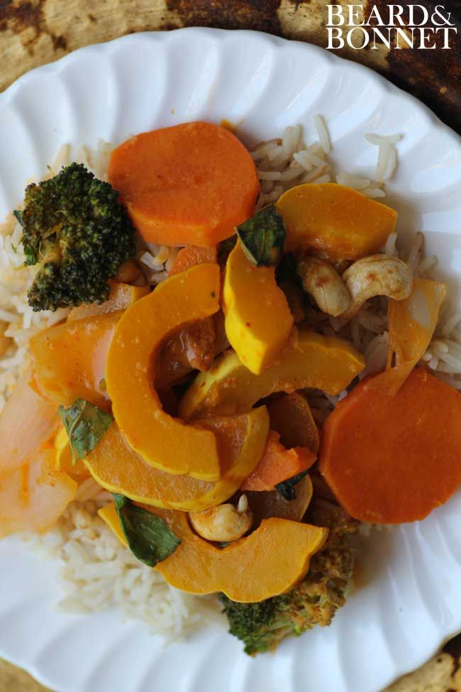 Curried Delicata Squash with Broccoli and Cashews (Gluten Free and Ve ...