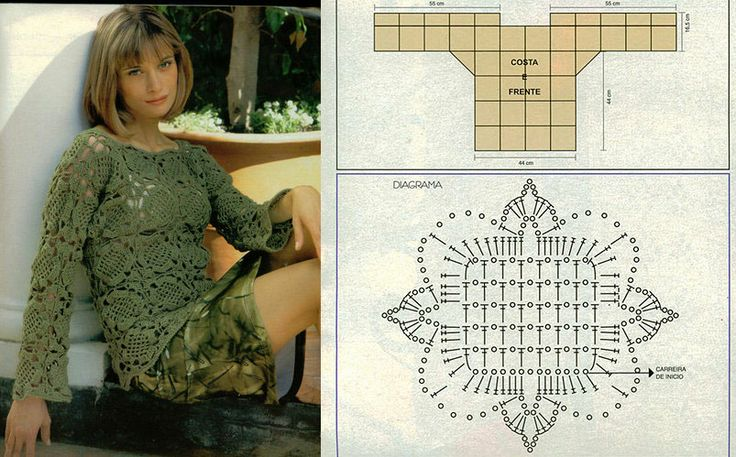 Square motif for constructing a long sleeved blouse.