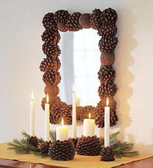 decoracion con piños Ideas para realizar marcos y espejos