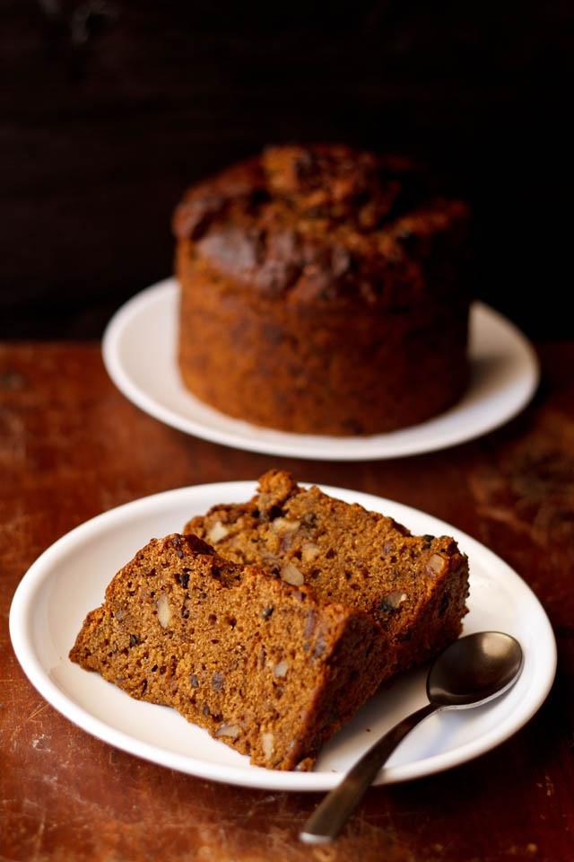 dates walnut coffee cake with cacao nibs - vegan cake