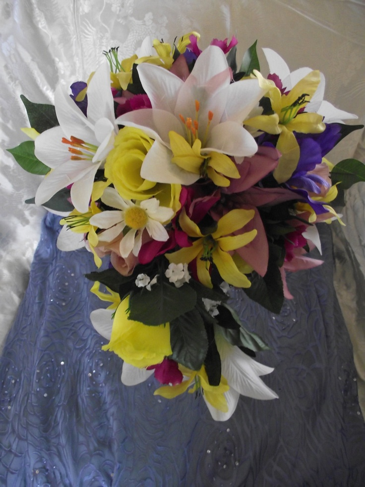 Wedding Bouquet Lily Yellow Roses Purple Iris Hand Held With Maid