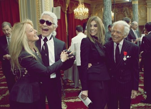 Later, they all traded outfits. (I love this photo of Karl Lagerfeld and Carine Roitfeld SMILING. #TeamFeld)