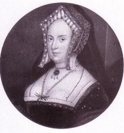 Elizabeth Stafford, Duchess of Norfolk (1494 - 1558). Second wife of Thomas Howard, 3rd Duke of Norfolk. She was one of the two godmothers of the future Queen Elizabeth I. Her marriage was unhappy as her husband lived openly with his mistress and had Elizabeth imprisoned.