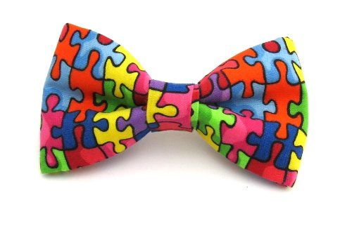 Men Autism Awareness Puzzle Piece Clip On Bow Tie amy2004marie,http ...