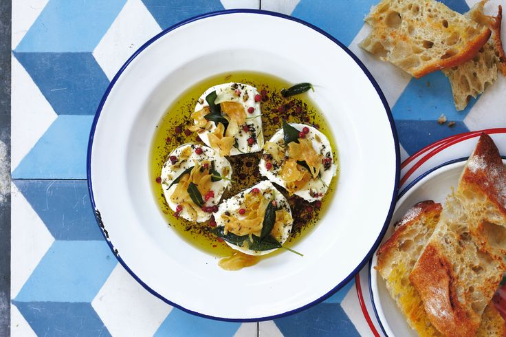 Marinated Goat Cheese with Fried Garlic and Sage | Recipe