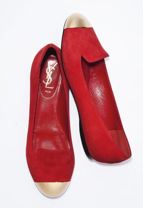 Yves Saint Laurent suede cap toe loafer