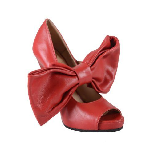 Viktor & Rolf Red Leather Big Bow Open Toe Pumps Shoes US 10 EU 40
