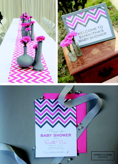 pink and grey chevron baby shower baby showers and gifts pintere