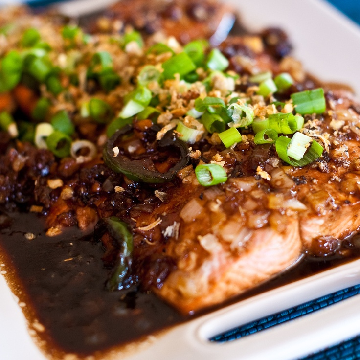 ... sauce over salmon. Garnish with green onion and fried onions or garlic