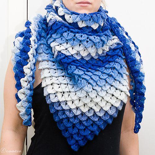 Crocodile Stitch Triangle Shawl pattern by Bonita Patterns