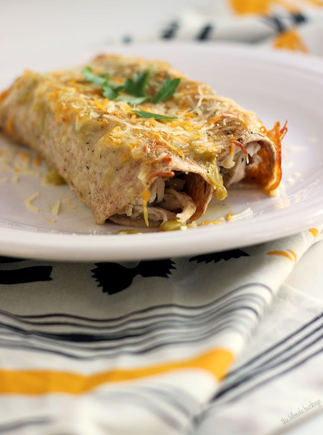 Lighter Green Chile Chicken Enchiladas | Cinco de Mayo | Pinterest