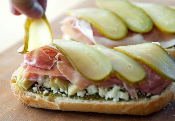 Feta Artichoke Sandwich- good bread like a crusty baguette pesto feta ...