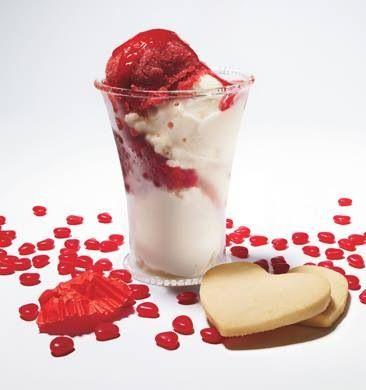 Lemon ice cream and raspberry granita's with cinnamon hearts