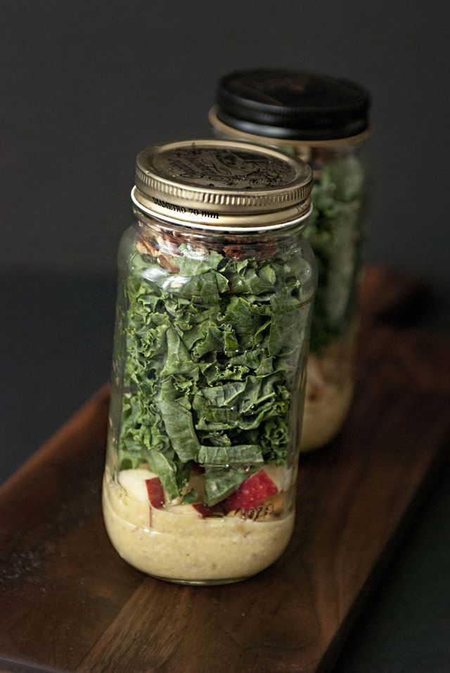 autumn in a jar: kale salad with chickpeas, cherries, and pecans