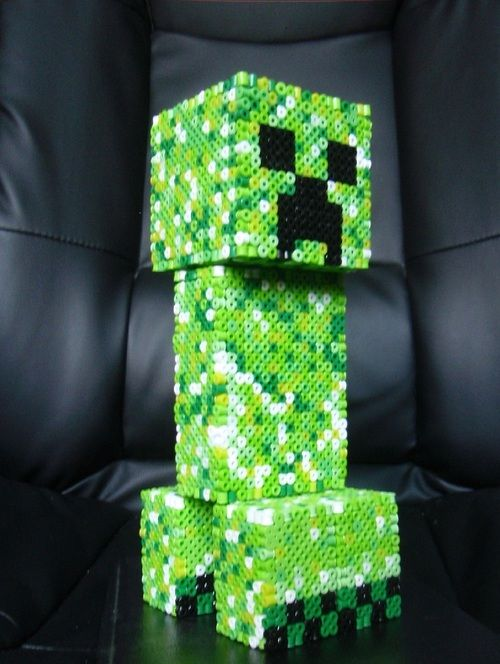 That'ssss a nicccce creeper you have there...  3D Perler Bead Minecraft Creeper  Created by SirEschaton