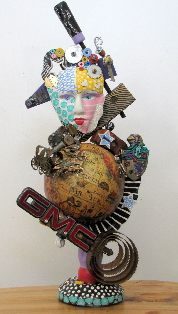 Out of this world recycled found object sculpture for Waste material object