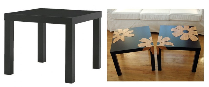 Bamboo veneer flowers + Ikea Lack tables project from craftynest.com