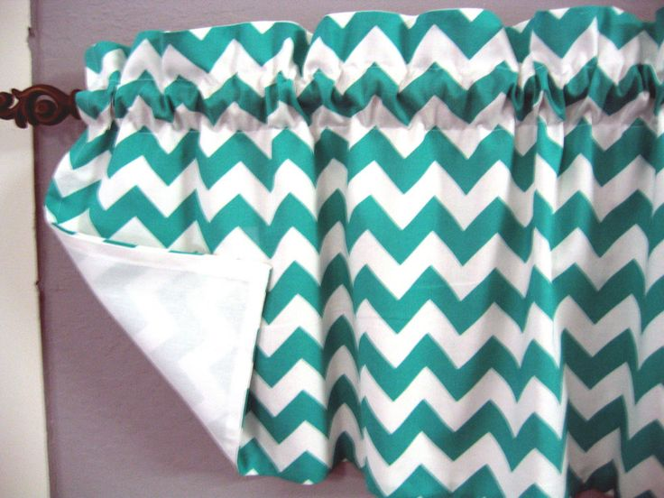 Turquoise teal white chevron zig zag curtain valance lined new