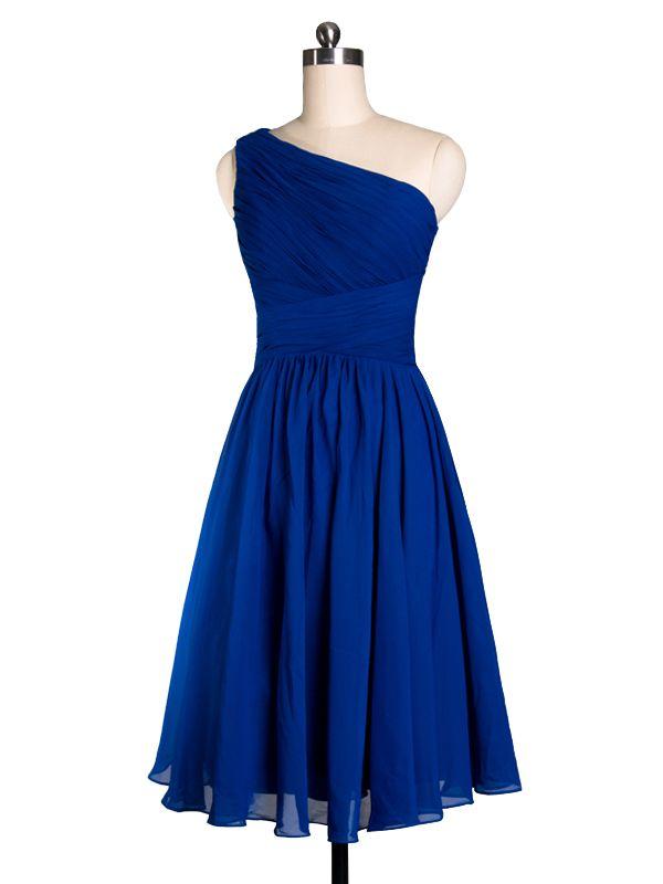Pretty Royal Blue Tea Length One Shoulder Cocktail Bridesmaid Dress