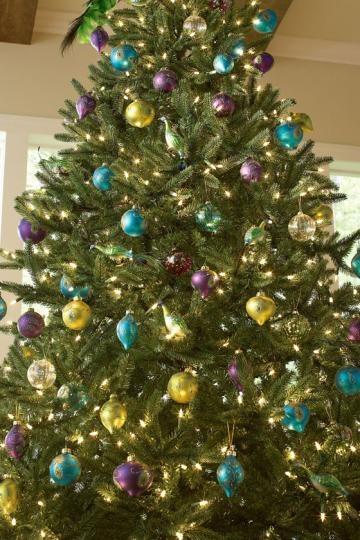 Peacock ornaments christmas trees ornaments decor etc - Christmas tree color schemes ...