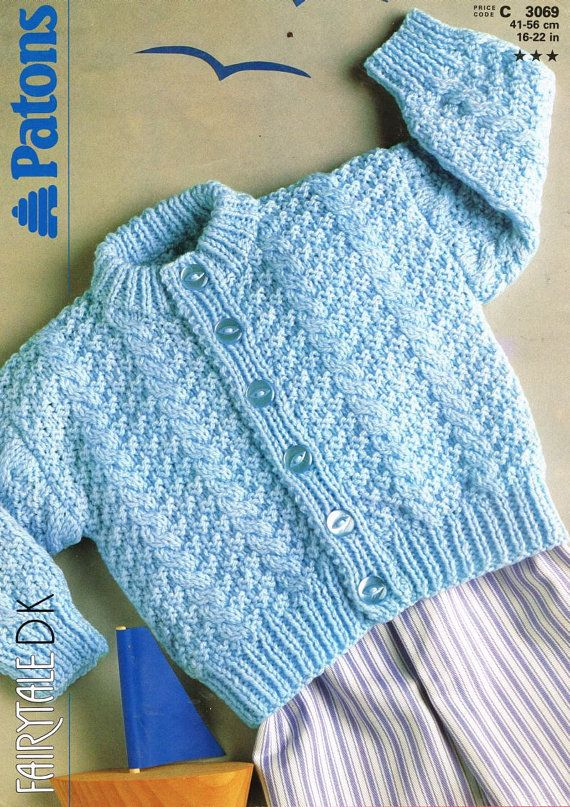 Patons 3069 baby jumper vintage knitting pattern PDF instant download
