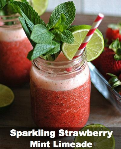 Sparkling Strawberry-Mint Limeade #Cocktail #Recipe