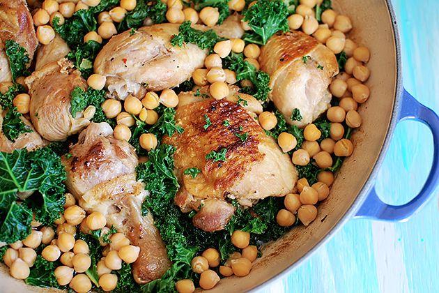 Braised Sage Chicken with Kale & Chickpeas | Recipe