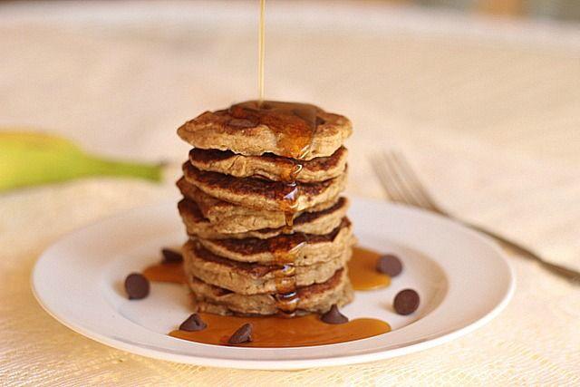 Vegan Chocolate Chip Oatmeal Pancakes...gluten-free and sugar-free