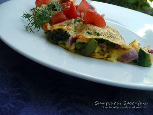 Asparagus, Bacon & Smoked Gouda Omelet with Fresh Tomato, Dill ...