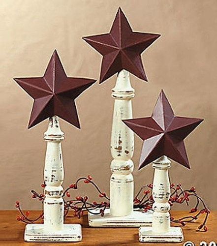 Rustic americana barn stars on spindles western tabletop for Americana decoration