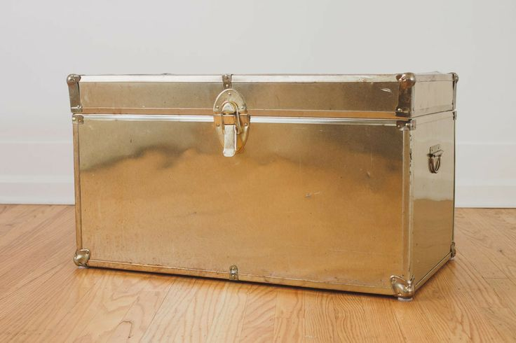 Vintage distressed brass trunk coffee table distressed patina