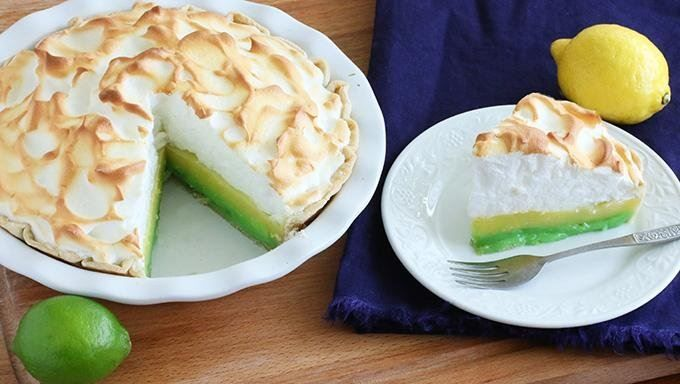 ... lemon-lime meringue pie made with two separate layers of lemon and