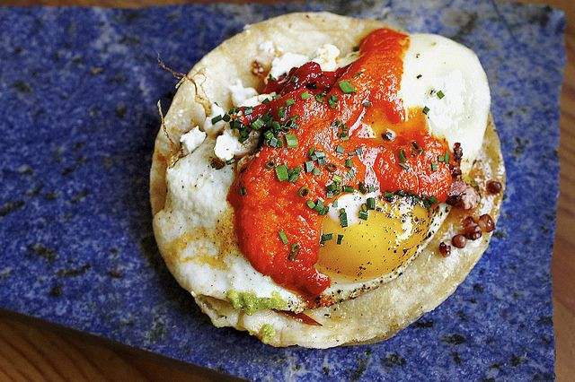 King oyster mushroom taco with fried egg, red pepper escabeche, feta ...