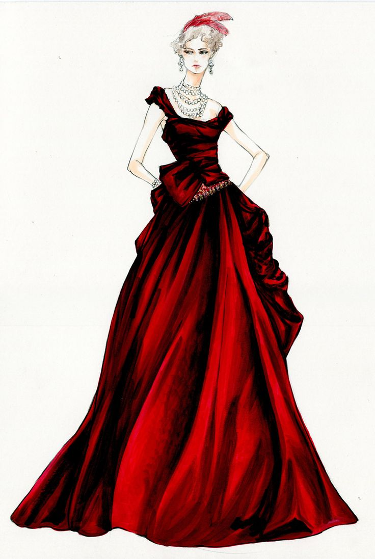Ball gown fashion sketches