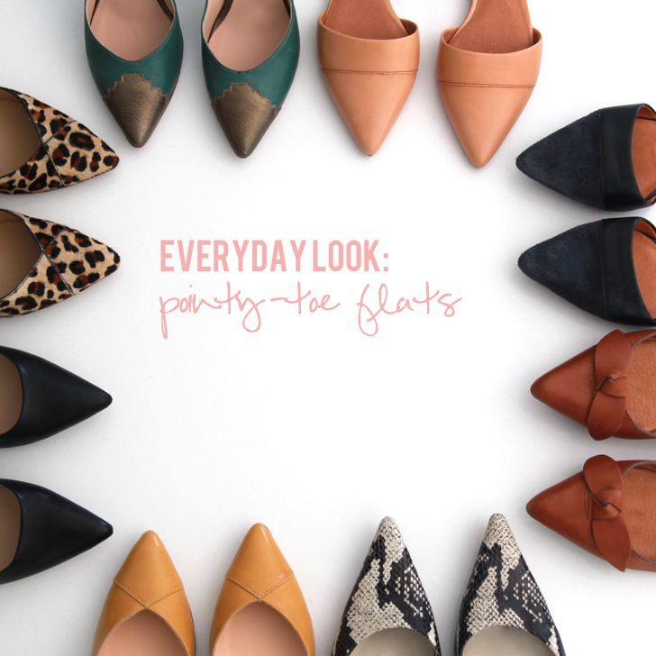 Round up of tons of pointy-toe flats.
