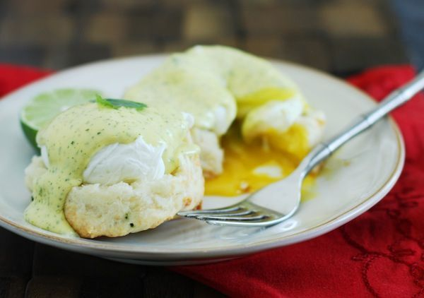 Jalapeno-Cheddar Eggs Benedict with Cilantro-Lime Hollandaise. # ...