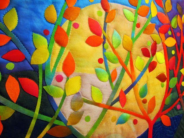 """Fibermania: Under a Silken Moon #3  Hand dyed cottons and silks, 17.5 x 12.75"""""""