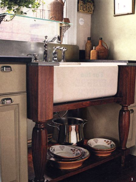 Farmhouse Sink With Legs : Farmhouse Sink Supported by Table Legs Design Pinterest