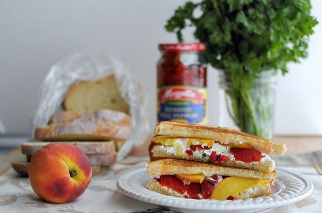 Grilled Herbed Goat Cheese, Fresh Peach Roasted Red Pepper Sandwich