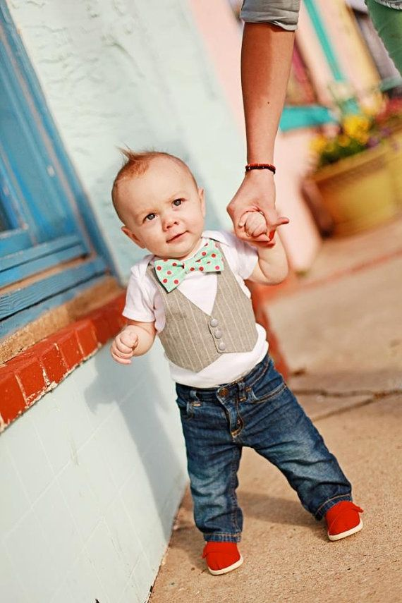 Baby Boy Outfit With Yellow Bow tie Baby Wedding by