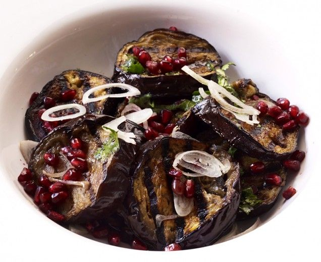Grilled Eggplant with Pomegranate Vinaigrette | Recipe