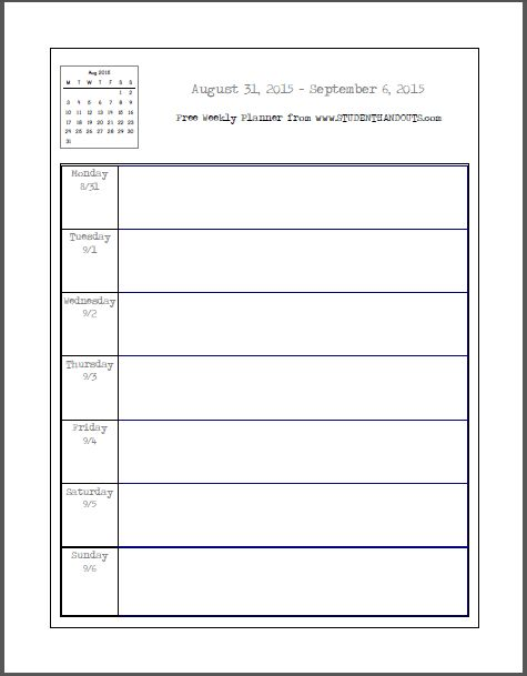 Daily Calendar For August 2015 – Printable Editable Blank