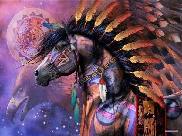 Native American Horse Drawings Painted indian fantasy horse