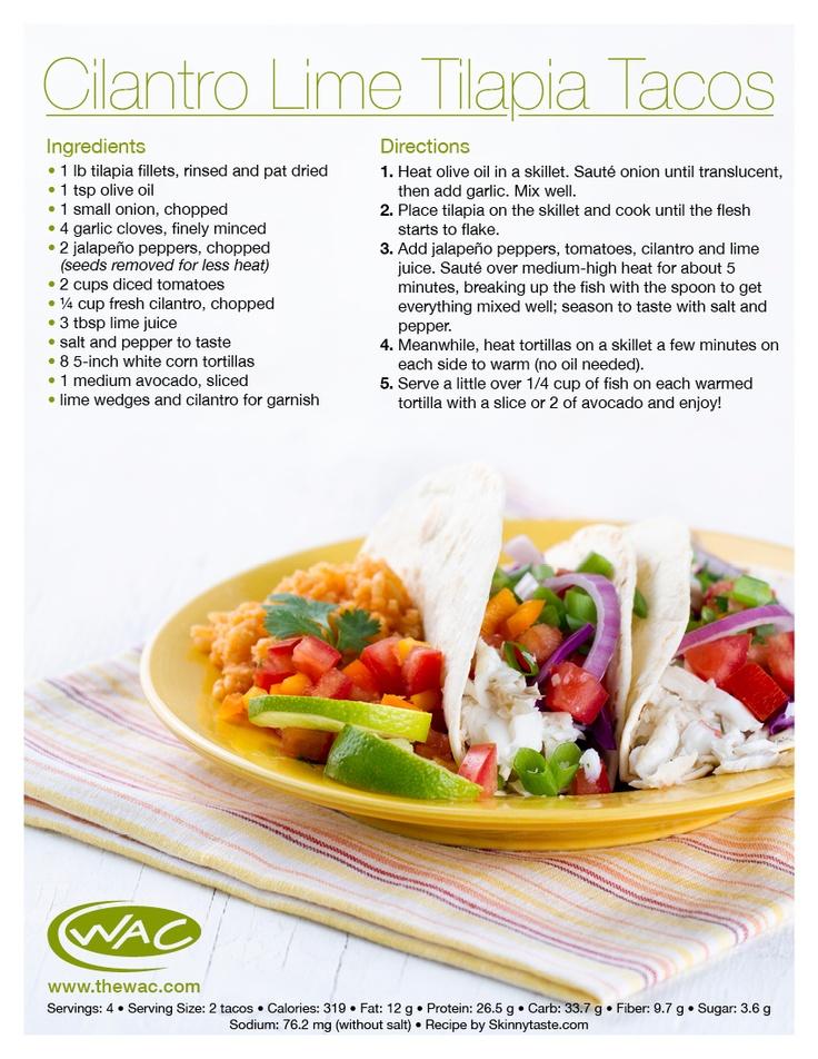 Cilantro Lime Tilapia Tacos #TheWAC #Recipe #Tacos #Tilapia
