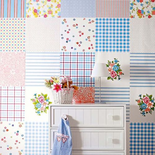 Preciosa pared de patchwork | Pretty and cute patchwork wall paper · ChicDecó