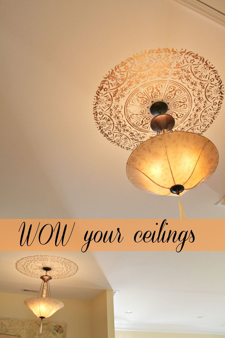 DIY IT: wow your ceilings with a stencil medallion! #ceiling #stencil