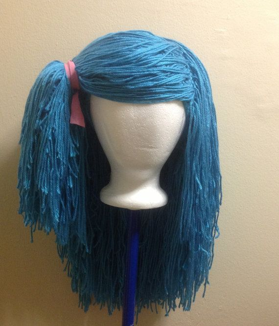 ... Crochet yarn Hat Hair wig,women, baby, kids,ligh blue hair, wig, yarn
