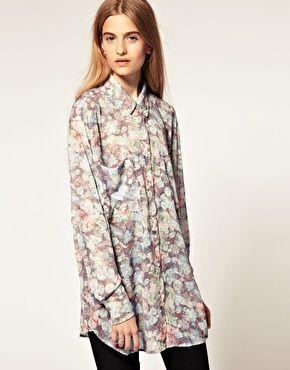 Camisa de chifón extragrande con estampado floral - American Apparel