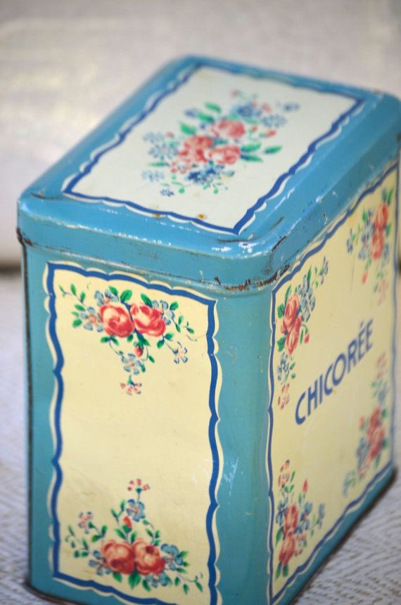 Sweet Vintage French Shabby Chic CHICOREE Tin with Flowers
