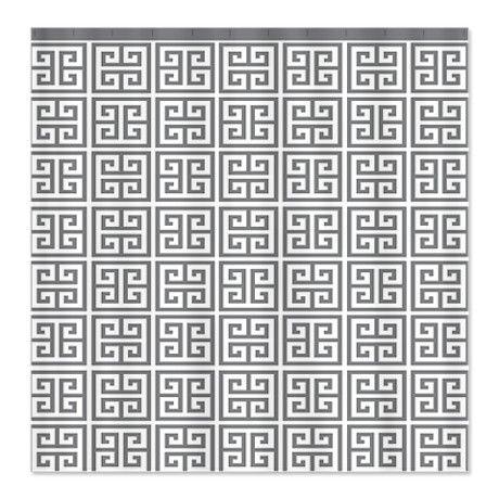 Greek Key Pattern Gray Shower Curtain On